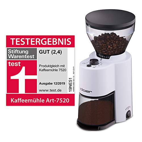 Cloer 7521 Elektrische Kaffeemühle mit Kegelmahlwerk, Stiftung Warentest gut, 2-12 Tassen, 300 g Kaffeebohnen, 150 W, verstellbarer Mahlgrad, Kunststoff, weiß