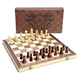 OUNUO Schachspiel aus Holz handgefertigt - Hochwertiges Schachbrett aus Echtholz magnetisch - Wooden Chess Set (Holz 39*39)