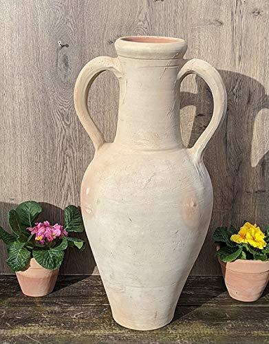 Amphore 60 cm aus Terracotta Terrakotta beige-grau, Krug Vase Deko Garten Landhaus Handarbeit aus Tunesien