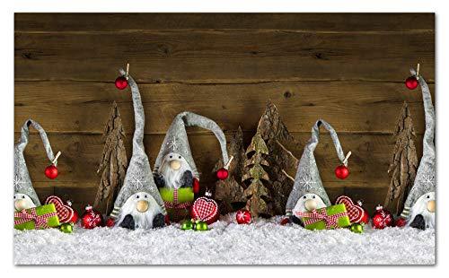 TAPPETIK Tappeto Natalizio, Passatoia in Stampa Digitale Natale Alta qualità, Ampia Gamma di Colori e Disegni (Serie Digit Natale) - Disegno Natale Gnomi Vari (Gnomi e pacchi Verdi, 52x190 cm)