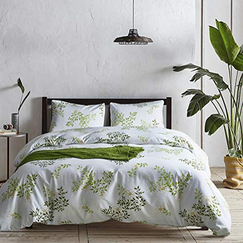 Botanical Print Duvet Cover King Size Bedding Set White and Green Duvet Quilt Cover and Pillowcases with Zipper Super Soft Microfiber