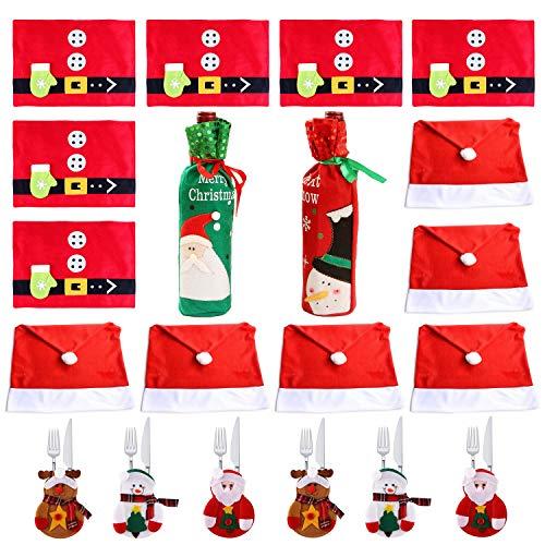 COSORO Decoración de Mesa de Cena de Navidad - 6 Fundas de Sillas de Gorro Navideño, 6 Esteras de Mesa, 6...