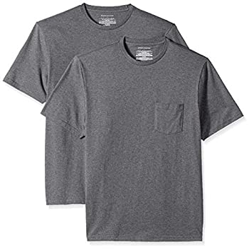 Amazon Essentials Men s 2-Pack Regular-Fit Short-Sleeve Crewneck Pocket T-Shirt Charcoal Heather Large