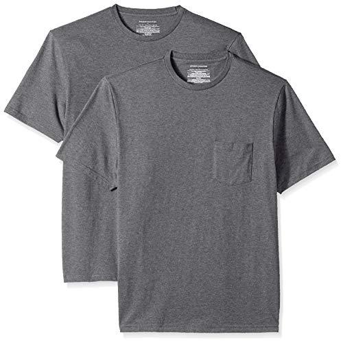 Amazon Essentials Herren T-Shirt, lockere Passform, Rundhalsausschnitt, Brusttasche, 2er-Pack, Grau (Charcoal Heather Cha), US M (EU M)