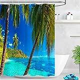 LB Duschvorhang Blaues Meer 150x180cm Grüne Palme der tropischen Insel Bad Vorhang mit Haken Polyester Wasserdicht Antischimmel Badezimmer Gardinen