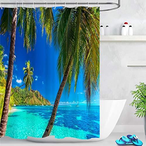 LB Rideaux de Douche Océan Bleu 150x180cm Palmier Vert de l'île Tropicale Rideaux de Bain avec Crochets,Imperméable Polyester Anti Moule Salle de Bain Décor