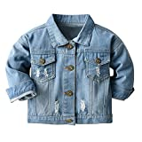 LItie Chaqueta vaquera para bebé, niño, niña, azul vaquero, chaqueta, abrigo, ropa exterior para primavera, otoño, informal, ropa exterior azul 130 cm