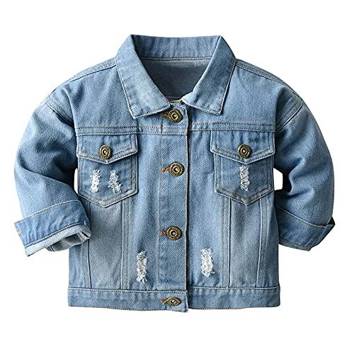 LItie Chaqueta vaquera para bebé, niño, niña, azul vaquero, chaqueta, abrigo, ropa exterior para primavera, otoño, informal, ropa exterior azul 100 cm