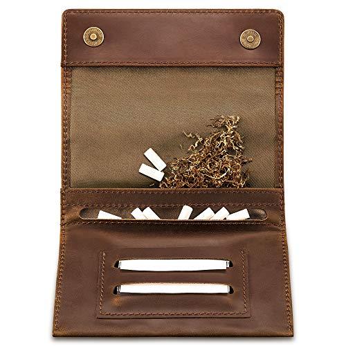 Indian Pearl Indian Pearl Tabaktasche I Echtes Leder I Reißverschlußfach I Magnetverschluß I Geschenkbox I Dunkelbraun