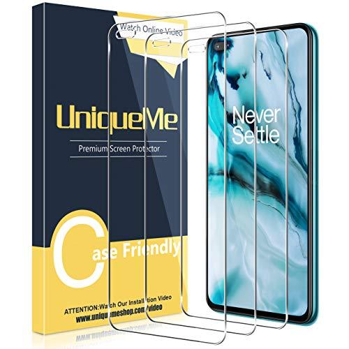 UniqueMe [3 Stück] Schutzfolie Kompatibel mit Oneplus Nord Panzerglas, [Einfache Installation] 9H Festigkeit Gehärtetem Glas Oneplus Nord Bildschirmschutzfolie, HD Folie