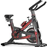 Bicicleta de ejercicio sentada, con pedal estacionario, 8 kg, volante bidireccional con monitor LCD y sensores de pulso de mano, ideal para entrenamiento cardiovascular