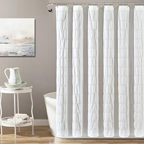 "Lush Decor White Waffle Stripe Woven Cotton Shower Curtain, Bathroom Accessories (72"" x 72"")"