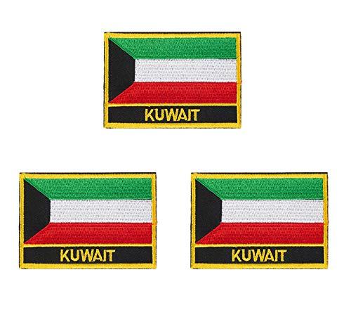 Kuwait-Flaggen-Aufnäher, bestickt, 3 Stück