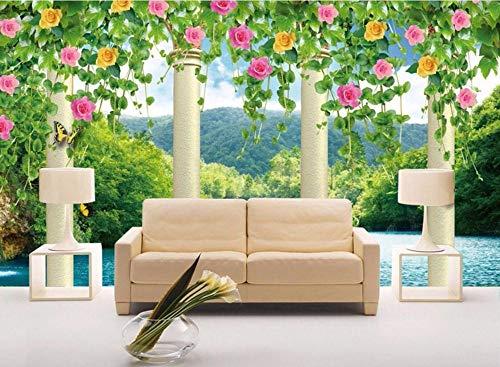 BHXIAOBAOZI behang fotobehang op maat 3D grote landschap bloemen op de groene wijnstok moderne decoratie Hd kunstdruk poster afbeelding foto voor woonkamer wanddecoratie (BH-1386) 400cm(W)×250cm(H)|13.12×8.2 ft