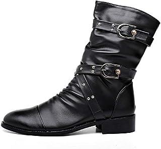 Bottes d'équitation mi-mollet pour homme - Grandes tailles - Bottes de moto - En cuir - Noir - 38
