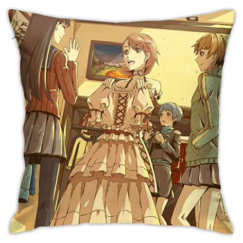 """BKOGAL Persona Chie Yukiko Rise Throw Pillow Cover Soft Square Throw Pillow Case Home Decoration for Bed Couch Sofa Farmhouse Cushion Cover Both Sides (18""""x18"""")"""