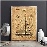 Muzimuzili帆船の特許、帆船の壁の芸術、帆船のポスター、部屋の装飾、ヴィンテージプリント、青写真 スポーツの壁の装飾B-30X40Cmフレームなし