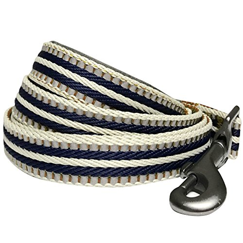 Blueberry Pet 8 Colors 3M Reflective Multi-Colored Stripe Dog Leash with Soft & Comfortable Handle, 4 ft x 1, Olive & Blue-Gray, Large, Leashes for Dogs