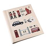 ARPAN London Icons - Álbum de Fotos (Autoadhesivo, 20 Hojas, 40 Caras, 29 x 25 x 2 cm), diseño de Iconos, Color Rojo y Crema