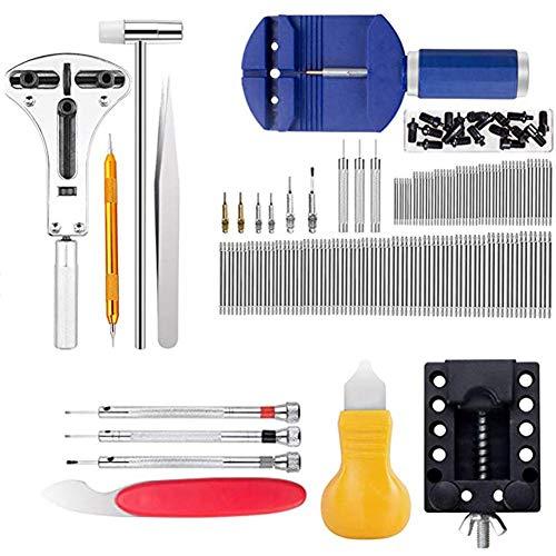 Reloj kit de reparación, 147 PCS relojero profesional Kit de herramientas de reloj de nuevo caso Holder barra del abrelatas del removedor del acoplamiento pasador de resorte del sistema de herramienta