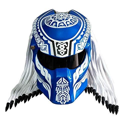 JEANN-MThelmet Casco de Moto Predator Casco de Fibra de Carbono de Cara Completa Iron Warrior para Hombre, Casco Modular de Cara Completa con certificación Dot Safety (Rojo, Azul, Negro),Azul,XL