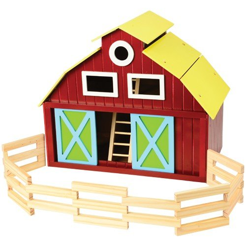 Constructive Playthings Wooden Barn with Removable Roof, Sliding Front and Side Doors, Ladder and Wooden Fencing for Ages 3 and Up