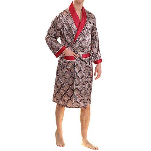 YIMANIE Men's Silk Satin Robe Luxurious Spa Long Sleeve House Kimono Nightwear Bathrobe,Red,L