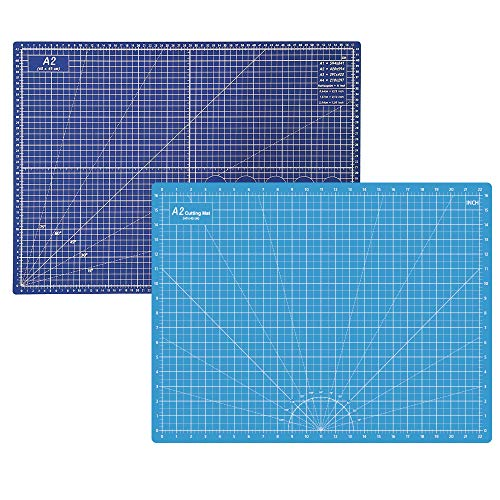 Headley Tools Durable Double-Sided Self Healing Cutting Mat - Property Help Mat Re-Heal Itself;Made of Durable 5-Ply Material .Rotary Mat Size: 18 x 24 inches (A2).Light Blue/Dark Blue