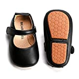 Felix & Flora Soft Sole Leather Black Baby Shoes - Infant Baby Walking Shoes Moccasinss Rubber Sole Crib Shoes(Black,18-24 Months)