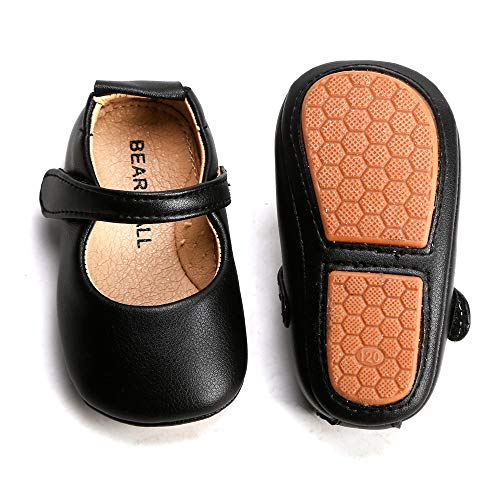 Felix & Flora Black Baby Shoes Girl 6-12 Months - Infant Baby Walking Shoes Moccasinss Rubber Sole Crib Shoes(Black,9-12 Months)