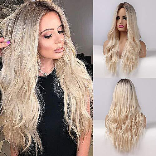 Esmee 26 Pouces Perruques Blonde Longues pour Femmes Cheveux Naturels Synthétiques Perruque Blonde Ombre avec Racines Foncées Perruque Synthétique Perruques Loose Wavy Résistant à la Chaleur