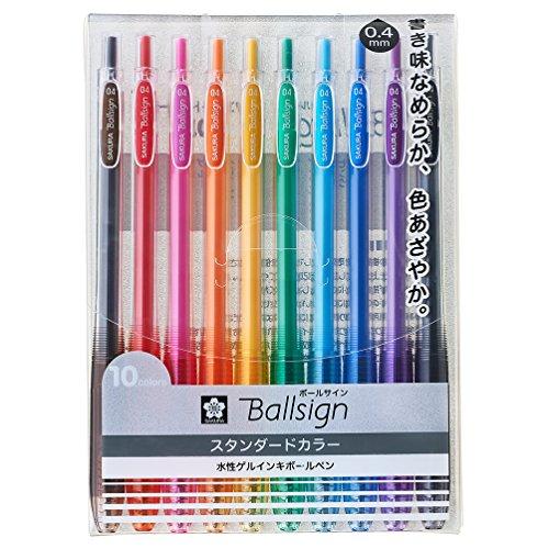 サクラクレパスジェルボールペンボールサインノック0410色セットGBR154-10