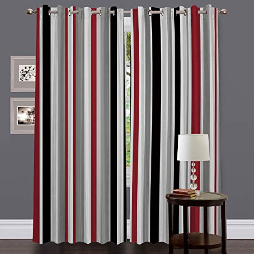 Blackout Grommet Curtains for Living Room Red White Grey and Black Vertical Stripes Home Decor Treatment Thermal Darkening Drapes Window Curtains for Bedroom (2 Panels, 40 x 84 Inch Each Panel)