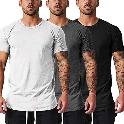 COOFANDY Pack de 3 camisetas de manga corta para hombre, para entrenamiento de gimnasio negro, gris y blanco XXL