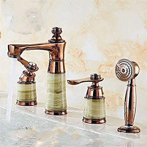 Waterkraan keukenkraan waterkraan keuken waterkraan koperen bekken 4-delige set badkamerkast warm en koud water waterkraan wastafel jade D