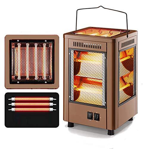 DUTUI Elektrische Außenheizung, Fünfeckige Heizung, Automatischer Elektrischer Drehofentisch, Tragbare Elektrische Außenheizung,Gold