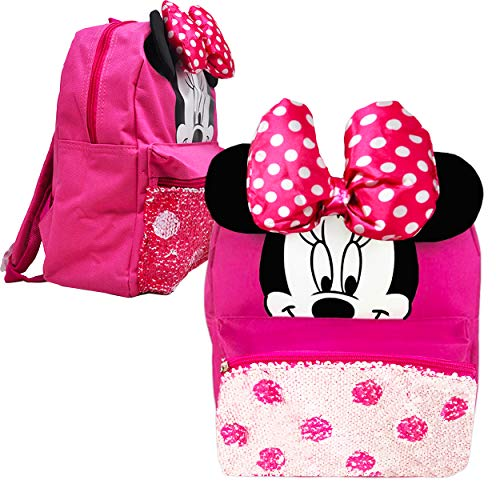 Disney Minnie Mouse Mini Preschool Backpack for Toddler Girls (12') (Minnie Mouse School Supplies Bundle)