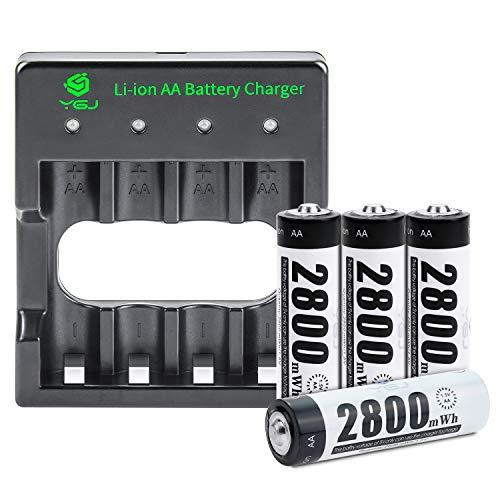 YGJ Batterieladegerät AA inkl. 4X AA Mignon 2800mWh, USB Ladestation Akku Set für Wiederaufladbare AA Batterien Li-Ionen 1.5V mit Schutzbox