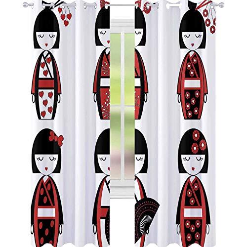 YUAZHOQI - Cortina de ventana opaca para niñas, diseño de muñecos de...