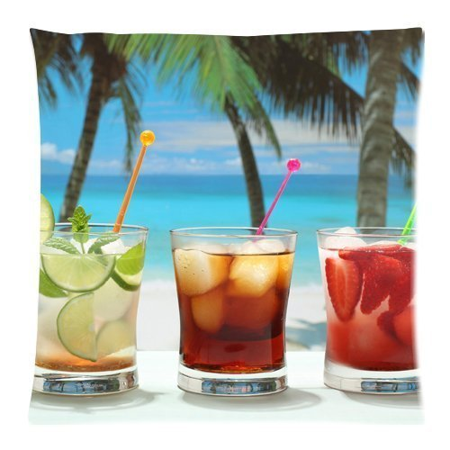 soft drinks sugar fruits palm trees Zippered Pillow Cases Cover Cushion Case 18x18 Inch