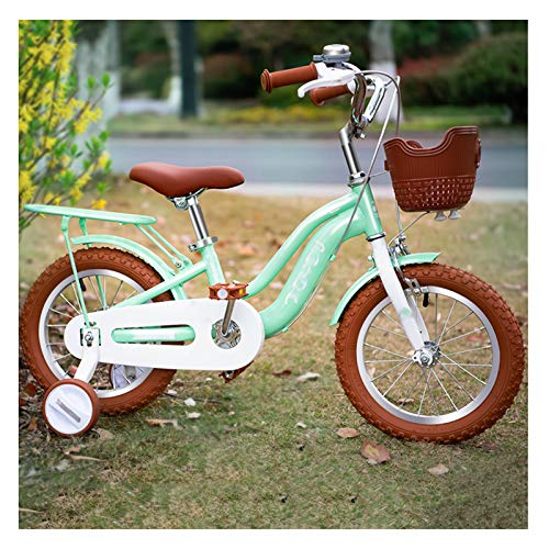Caixia Freestyle niñas niños Bicicleta 2 Colores, 12', 14', 16', 18' con estabilizadores Asiento Trasero y Canasta(Size:18inch,Color:Verde)