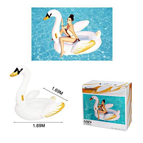 ALLPER Flotador de Cisne Blanco Y Dorado con Asas Medidas: 169 x 169 cm. Piscina y Playa. Material: Vinilo Resistente.