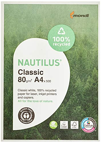 Mondi 88032442  Recycling-Druckerpapier Nautilus , 80 g/m², A4, 500 Blatt, weiß, CIE Weiße =112