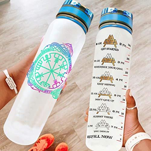 BTJC88 Botella de agua deportiva divertida con correa de transporte, botella reutilizable Viking adecuada para gimnasio y exterior, color blanco, 1000 ml