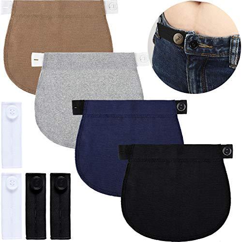 Adjustable Maternity Pants Extender Waistband Extender Pant Button Extenders (Black+Navy Blue+Gray+Khaki+White)