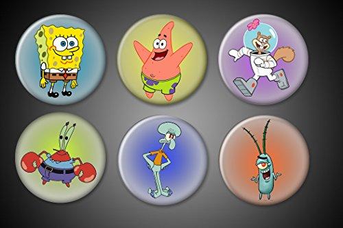 Spongebob Squarepants Pins or Magnets set of 6: Spongebob, Mr. Krabs, Plankton, Squidward Tentacles, Sally Squirrel, Patrick Star 1' round circle (Magnet)