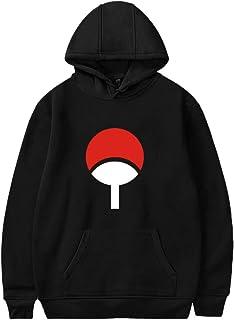 SAFTYBAY Naruto Shippuden Sasuke Uchiha Symbol Distressed Pullover Hoodie - Fashion Naruto Pullover Hooded Sweatshirt for Men