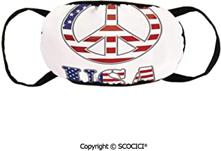 Face Mask for Women Modern Peace Sign USA Face Flu Allergens Face Mask