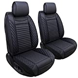 Aierxuan Front Captain Seat Covers Leather Car Seat Protector Waterproof Universal for Wrangler Liberty Renegade Compass Cherokee Grand Mitsubishi Outlander Evolucion Galant (2 Pcs Front/Black)
