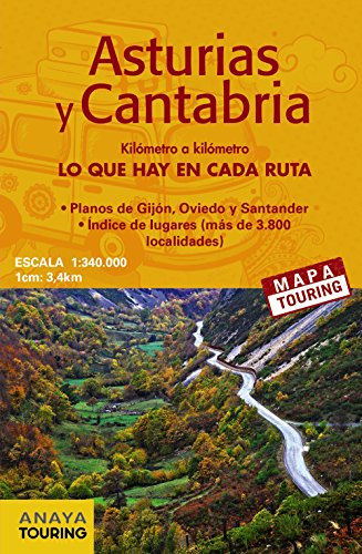 Mapa de carreteras Asturias y Cantabria (desplegable), escala 1:340.000 (Mapa Touring)